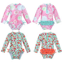 US Toddler Kid Baby Girl Floral Swimwear Ruffle Swimsuit Bathing Suit Rash Guard