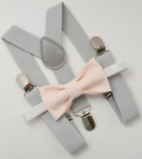 Kids Boys Mens Light Gray Suspenders & PALE Blush Pink Bow tie Baby - ADULT SET