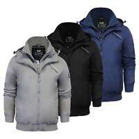 Crosshatch Snapton Mens Jacket Double Layer Hooded Windbreaker Coat