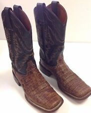 Women's 6.5 Boots Western Caiman Crocodile Square Toe Brown Alligator >AWESOME