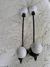 2 Antique Cast Iron & White Porcelain Double Ball Wall Mount Coat Hooks NICE!!