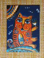 ACEO original pastel painting outsider folk art brut #010228 surreal funny cat