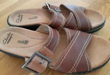 CLARKS  Brown leather Slip-on Mules/Sandals/Shoes Cushion Soft Size 5.5