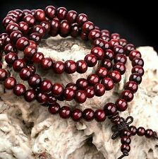 Unisex Sandalwood Buddhist Buddha 6mm 108 Prayer Bead Knot Bracelet