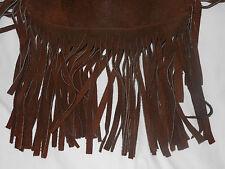 VINITAGE   long fringe  brown suede leather hippie satchel purse