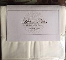 NEW Sferra Pair Ivory Italian Percale Standard Pillowcases 200TC Italy Cotton