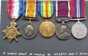 WW1 1914 Mons Star Trio Long Service & Good Conduct Medal Sergeant F. Dean Crewe