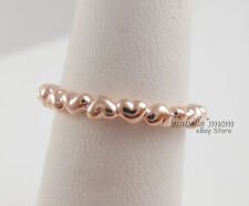 FOREVER LOVE Genuine PANDORA Rose GOLD Plated HEART Stackable BAND Ring 9/60 NEW