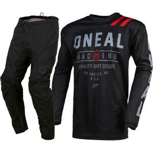 Oneal MX 2021 Element Threat Dirt Black/Grey Motocross Gear Set