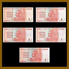 Zimbabwe 20 Trillion Dollars x 5 Pcs = (100 Trillion), 2008 AA Used XF