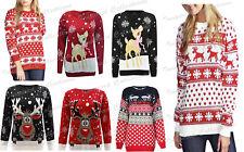 Womens Christmas Ladies Novelty Bambi  Reindeer Santa Snow Xmas Jumper