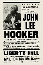Blues: John Lee Hooker at The Liberty Hall Theatre Concert Poster 1975  12x18