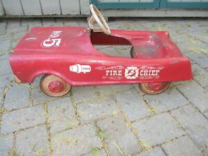 VINTAGE MIDWEST FIRE CHIEF NO. 5 SIREN PEDAL CAR WITH BELL ANTIQUE METAL TOY