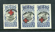 LIBERIA B5 AND B5a, 1918 5c + TWO CENTS RED CROSS, B5a IS MNH, B5 VLH   (LIB041)