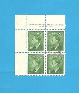 Canada George VI A block of 4 1cent Stamps, 19/1/1950.