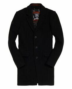 "Superdry Mens Camden Overcoat Black Size: 2XL 44"" (112cm) RRP £149.99"
