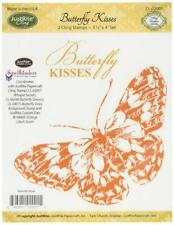 JustRite Cling Stamp Butterfly Kisses 2 pc set Red Rubber Cling Stamp CL-02001