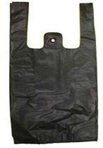 """Black Plastic Bags TShirt Retail Small 1/10 HD Quality Wholesale 8"""" x 3.5"""" x 15"""""""