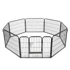 """24"""" Pet Fence Dog Playpen Exercise Cage Kennel w/ Door 8 Panel Outdoor Indoor"""