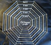 """Quilting stencil Paper piercing Octagon set 5 sizes 3"""" to 5"""" 4mm acrylic made UK"""