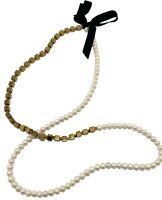 DRIES VAN NOTEN MIX PEARL AND METAL LONG NECKLACE, $945