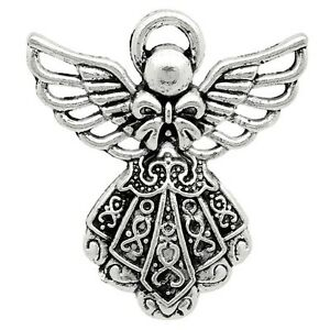 Angel Charm Silver Pendants 1 inch Antiqued Guardian Jewelry Lot of 10