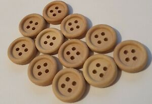 10 x 13mm Plain Wood Buttons with four holes