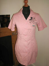 LAURA LEES MAINLINE pink mini shirt 1950s diner DRESS £160 S 10 vintage