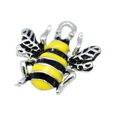Packet 10 x Yellow/Black Enamel & Alloy 18mm Bee Charm/Pendant HA08210