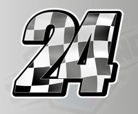 3 X Racing Numbers with Wavy Chequered Flag  - Stickers Decals Race Motorbike MX