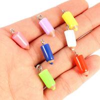 10Pcs Multicolour Resin Pencil Shape Charm Pendant DIY Necklace/Bracelet Making