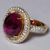 Genuine Pink Tourmaline Diamond Cocktail Womens Ring Solid 18K Yellow Gold