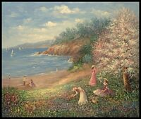 """24""""x20"""" Oil Painting on Canvas, A Picnic by the Beach, Hand Painted"""