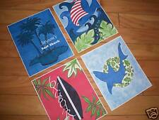 4 Key West Island Surf Skateboard Shark Kids Art Prints