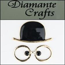3D Hat and Glasses Gold Alloy Black Enamel DIY Mobile Phone Case Deco 3HG2013