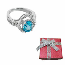 2.5ct Oval London Blue Topaz .925 Silver Ring in Size 7