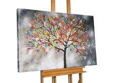Acryl Gemälde 'ABSTRAKT GRAU BUNT BAUM' | HANDGEMALT | Leinwand Bilder 120x80cm