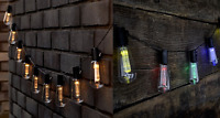 LED Solar Powered Vintage Edison Bulb String Lights Garden Outdoor Summer Party