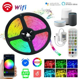 16.4-65.6FT RGB LED Strip Lights Smart WiFi for Alexa Google Music Color Change