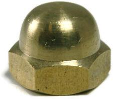 Brass Solid Hex Acorn Cap Nut UNC 1/4-20, Qty 25