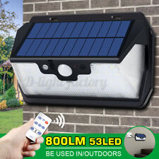 Remote Control 53LED Solar Powered PIR Motion Sensor Wall Security Light