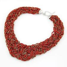 Ladies Chunky Red and Gold Beaded Necklace