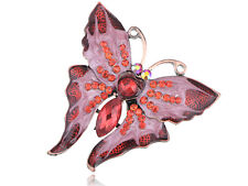 Dazzling Ruby Red Rhines Pin Butterfly Enamel Paint Fashion Brooch Jewelry Gift