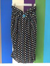 Zimmermann Womens Dress 0 Black White Blue Beige Silk mini strapless apple print