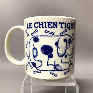 Vintage 1978 Taylor & Ng Le Chien Tigre Blue DOG Bones Coffee Mug San Francisco
