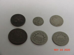 LOT OF 6 LOW GRADE TYPE COINS 2 CENT-SHIELD NICKELS-1857 FE-3 CENT- SEATED DIME