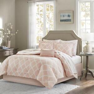 Twin XL Full Queen Cal King Blush Pink White Geo Trellis 9pc Comforter Sheet Set