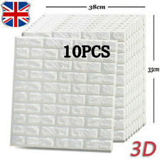 10 Pcs Adhesive Stick ON Wall Paper 3D Foam Brick Tile Stickers Waterproof Decor