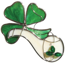 Shamrock with Pipe Stained Glass Suncatcher