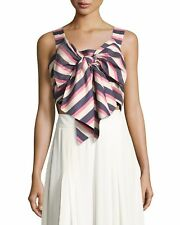 Johanna Ortiz Vizcaya Striped Silk Tie-Front Top Size 4